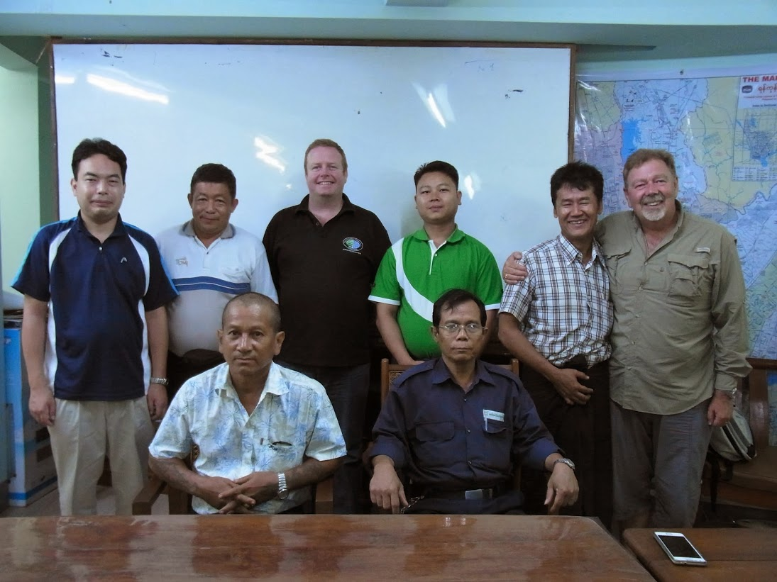 Executive members of the Insein union with (back row): Min Lwin, UnionAID project manager (2nd from left); Howard Phillips, vice president of RMTU (3rd from left) and Wayne Butson (right)