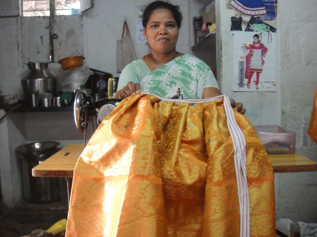 Mrs. Saraswathi, President of the Women Tailor's Co-op