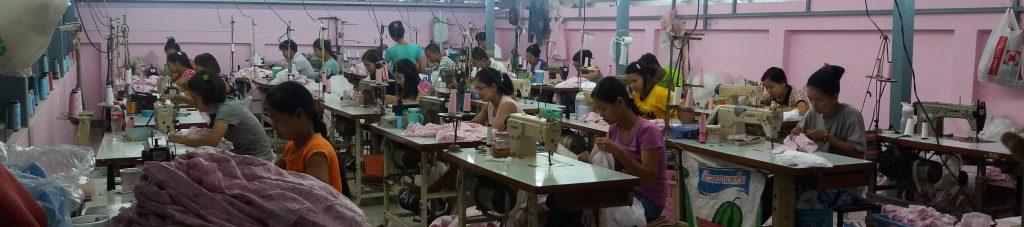 Women in a factory in Mae Sot